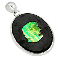 925 silver 16.85cts lady face natural opal cameo on black onyx pendant r20220