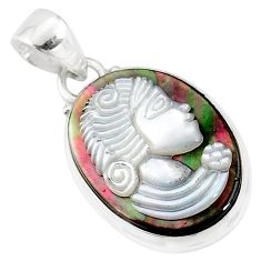 925 silver 10.70cts lady face natural titanium cameo on shell pendant r80391