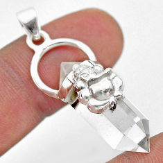 925 silver 12.66cts lord ganesha double pointer natural crystal pendant t44392
