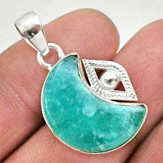 925 silver 10.76cts moon natural green peruvian amazonite eye pendant t46564