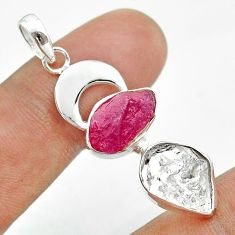 925 silver 12.43cts moon natural herkimer diamond ruby raw pendant t49448
