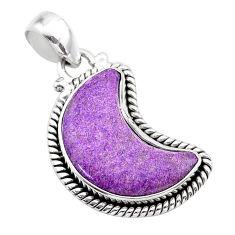 925 silver 10.23cts moon natural purple purpurite stichtite pendant t45820