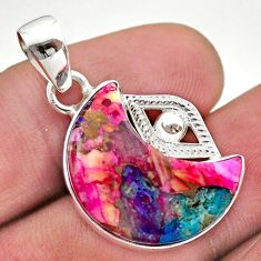 925 silver 12.89cts moon spiny oyster arizona turquoise pendant t46518