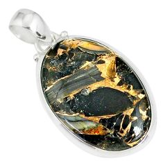 925 silver 15.31cts mother of pearl golden black obsidian pendant r81091