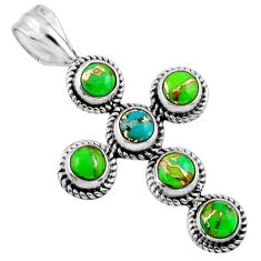 925 silver 4.40cts multi color copper turquoise round holy cross pendant r55948