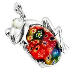 925 silver multi color italian murano glass oval pearl frog pendant c22550