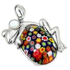 925 silver multi color italian murano glass pearl frog pendant c22542