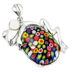 925 silver multi color italian murano glass pearl frog pendant jewelry c22557