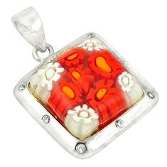 925 silver multi color italian murano glass topaz pendant jewelry c21742