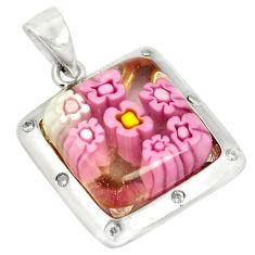 925 silver multi color italian murano glass topaz pendant jewelry c21743