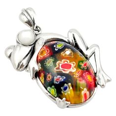 925 silver multi color italian murano glass white pearl frog pendant c21636