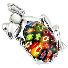 925 silver multi color italian murano glass white pearl frog pendant c22525