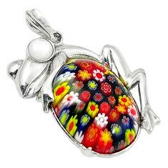 925 silver multi color italian murano glass white pearl frog pendant c22546