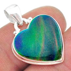 6.47cts multi color northern lights aurora opal (lab) heart pendant t16874