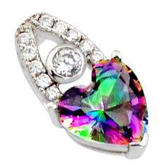 925 silver 4.11cts multi color rainbow topaz heart white topaz pendant c9733