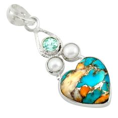 925 silver 10.79cts multi color spiny oyster arizona turquoise pendant d41733
