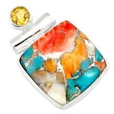 925 silver 18.70cts multi color spiny oyster arizona turquoise pendant r20034