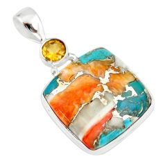 925 silver 20.88cts multi color spiny oyster arizona turquoise pendant r20037