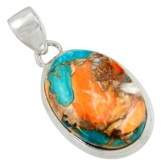 925 silver 15.08cts multi color spiny oyster arizona turquoise pendant r41860