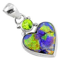 925 silver 8.69cts multi color sterling opal heart peridot pendant r70248