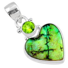 925 silver 7.84cts multi color sterling opal heart shape peridot pendant r70223