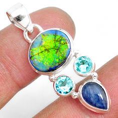 925 silver 7.82cts multi color sterling opal oval kyanite topaz pendant r84573