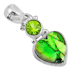 925 silver 4.29cts multi color sterling opal peridot heart pendant r64284