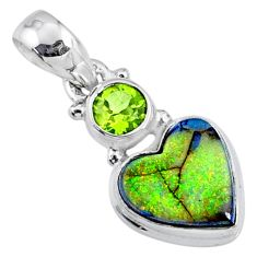 925 silver 4.62cts multi color sterling opal peridot heart pendant r64288