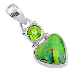 925 silver 4.59cts multi color sterling opal peridot heart pendant r64295