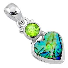 925 silver 4.62cts multi color sterling opal peridot heart pendant r64299