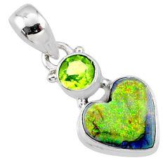 925 silver 4.62cts multi color sterling opal peridot heart pendant r64315