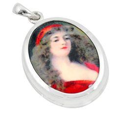 925 silver 18.10cts multi color victorian princess cameo oval pendant c21348