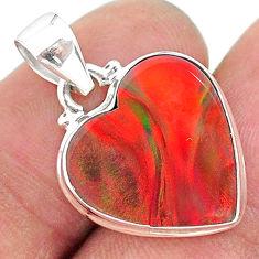 silver 6.67cts multi color volcano aurora opal (lab) heart shape pendant t16871