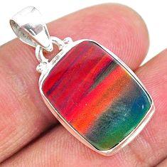 7.18cts multi color volcano aurora opal (lab) octagan shape pendant t16806