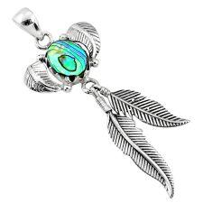 925 silver 4.38cts natural abalone paua seashell dreamcatcher pendant r67677