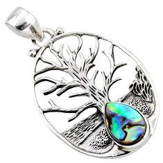 925 silver 2.81cts natural abalone paua seashell tree of life pendant r52995
