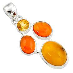 Clearance Sale- 925 silver 10.22cts natural amber bone cornelian (carnelian) pendant d43044