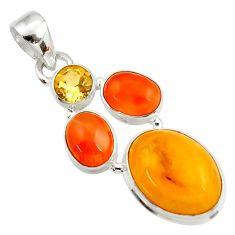 Clearance Sale- 925 silver 12.34cts natural amber bone cornelian (carnelian) pendant d43047