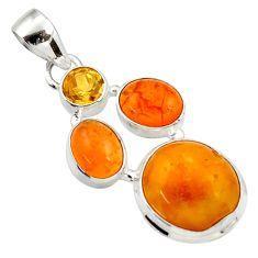 Clearance Sale- 925 silver 13.75cts natural amber bone cornelian (carnelian) pendant d43059
