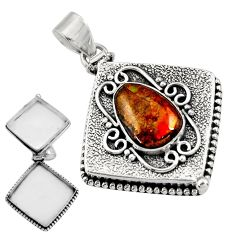 925 silver 6.01cts natural ammolite (canadian) poison box pendant jewelry r30643