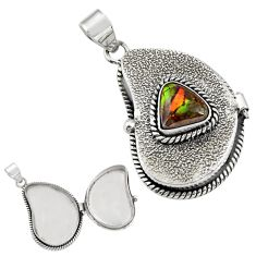 925 silver 5.05cts natural ammolite (canadian) poison box pendant jewelry r30658