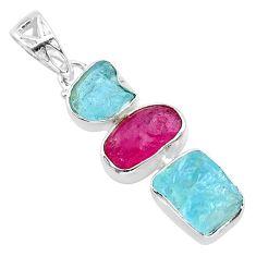 925 silver 11.57cts natural aqua aquamarine raw ruby raw pendant t33328