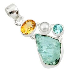 925 silver 14.72cts natural aqua aquamarine rough citrine pearl pendant d45357