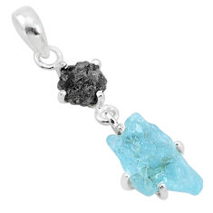 925 silver 7.85cts natural aqua aquamarine raw diamond rough pendant t4344