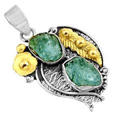 925 silver 12.62cts natural aqua aquamarine rough fancy 14k gold pendant d39149