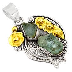 925 silver 10.89cts natural aqua aquamarine rough fancy 14k gold pendant d39152