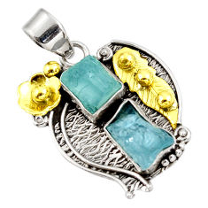 cts natural aqua aquamarine rough fancy 14k gold pendant d39168