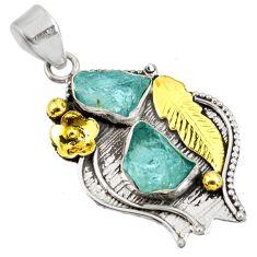 925 silver 11.71cts natural aqua aquamarine rough fancy 14k gold pendant d39179