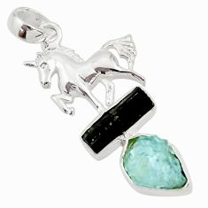 925 silver 13.87cts natural aqua aquamarine rough fancy horse pendant d45324