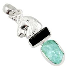 925 silver 13.09cts natural aqua aquamarine rough fancy horse pendant d45330